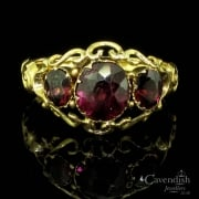 Victorian 9ct Gold Almondine Garnet Trilogy Ring