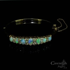 Victorian 9ct Gold Opal And Diamond Bangle