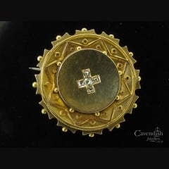Victorian Gold and Diamond Mourning Brooch