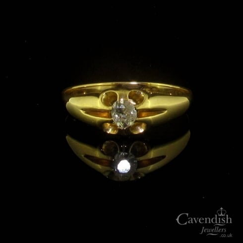 Victorian Gold Diamond Solitaire Gents Ring