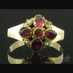 Victorian Gold Garnet & Pearl Cluster Ring