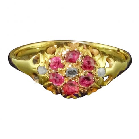 Victorian Gold Ruby & Diamond Cluster Ring