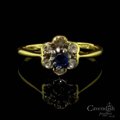 Victorian Gold Sapphire & Diamond Cluster Ring