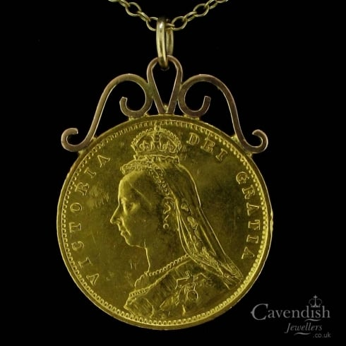 Victorian Half Sovereign Drop Pendant