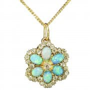 Victorian Natural Opal and Old Cut Diamond Pendant Brooch