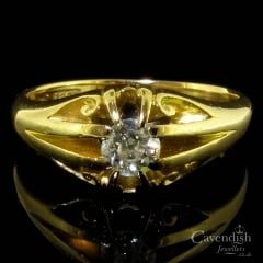 Victorian Yellow Gold Old Cut Diamond Solitaire Ring