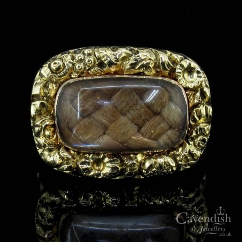 Victorian Yellow Gold & Plaited Hair Mourning Ring