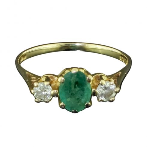 Vintage 14ct Emerald And Diamond Trillogy Ring
