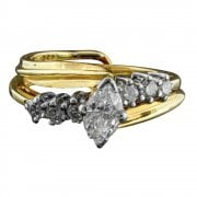 Vintage 14ct Gold Diamond Engagement Ring and Wedding Ring Set