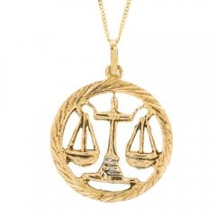 Vintage 14ct Gold Libra Pendant and Curb Chain