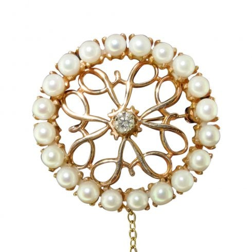Vintage 14ct Gold Pearl and Diamond Brooch