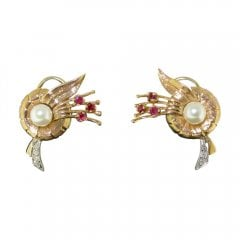 Vintage 14ct Gold Ruby Pearl and Diamond Earrings