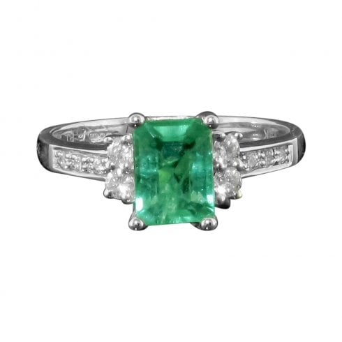 Vintage 14ct White Gold Emerald And Diamond Solitaire Ring