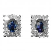 Vintage 14ct White Gold Sapphire and Diamond Cluster Earrings