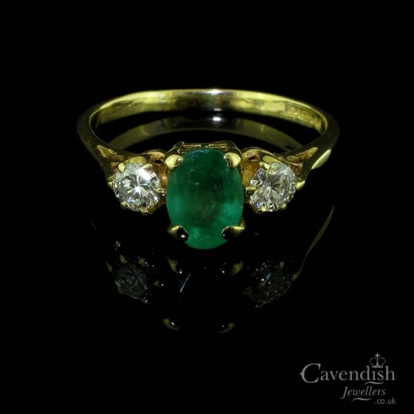 Vintage 18ct Emerald And Diamond Trilogy Ring Rings From