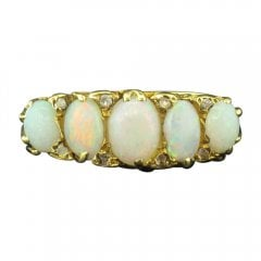 Vintage 18ct Gold 5 Stone Opal Ring