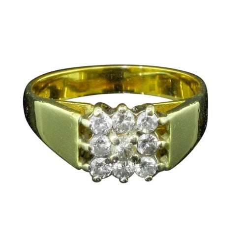 Vintage 18ct Gold And Diamond Square Cluster Ring