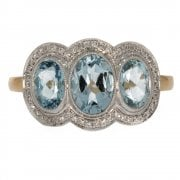 Vintage 18ct Gold Aquamarine And Diamond Triple Cluster Ring