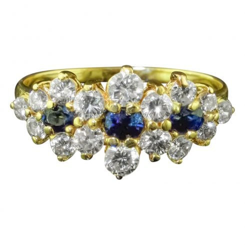 Vintage 18ct Gold Diamond and Sapphire Cluster Ring
