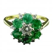Vintage 18ct Gold Emerald And Diamond Cluster Ring