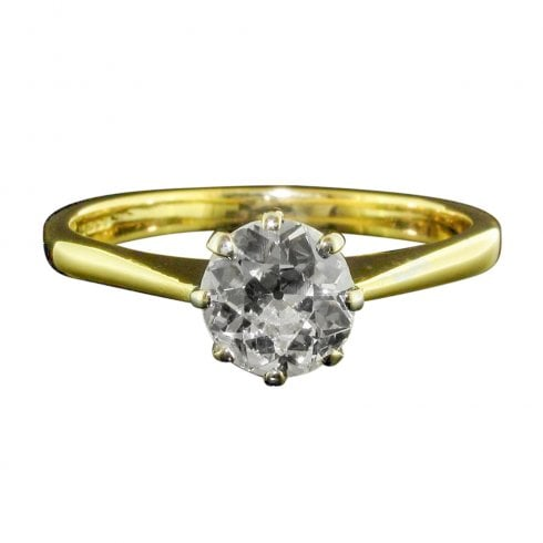 Vintage 18ct Gold Old Cut Diamond Solitaire Ring