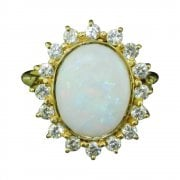Vintage 18ct Gold Opal and Diamond Cluster Ring