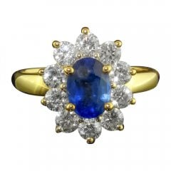 Vintage 18ct Gold Oval Cut Sapphire and Diamond Cluster Ring
