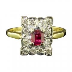 Vintage 18ct Gold Ruby And Diamond Tablet Ring