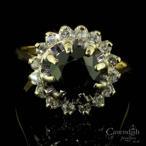 Vintage 18ct Gold, Sapphire And Diamond Cluster Ring
