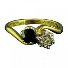 Vintage 18ct Gold Sapphire and Diamond Twist Ring