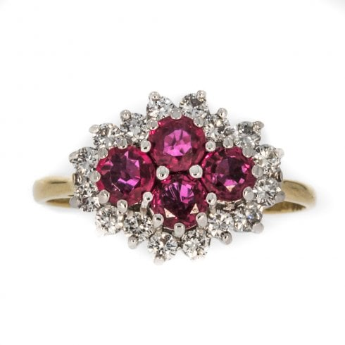 Vintage 18ct Ruby and Diamond Cluster Ring