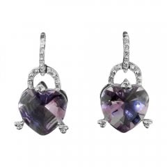 Vintage 18ct White Gold Amethyst Heart And Diamond Drop Earrings