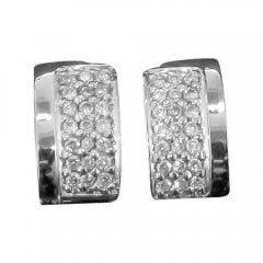 Vintage 18ct White Gold And Diamond Lever Back Earrings