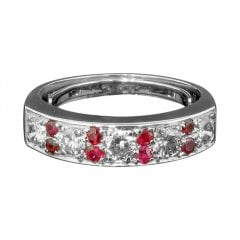 Vintage 18ct White Gold Ruby and Diamond Half Eternity Ring
