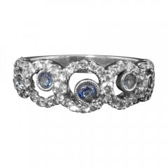 Vintage 18ct White Gold Sapphire and Diamond Circles Ring