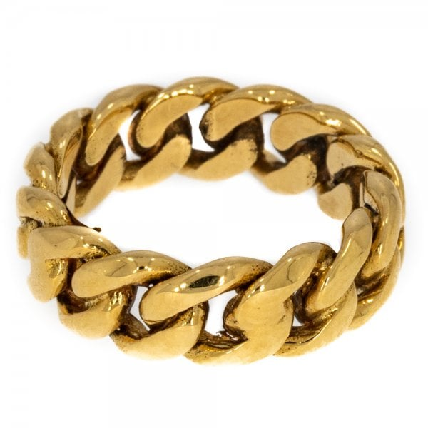 Vintage 18ct Yellow Gold Curb Link Ring