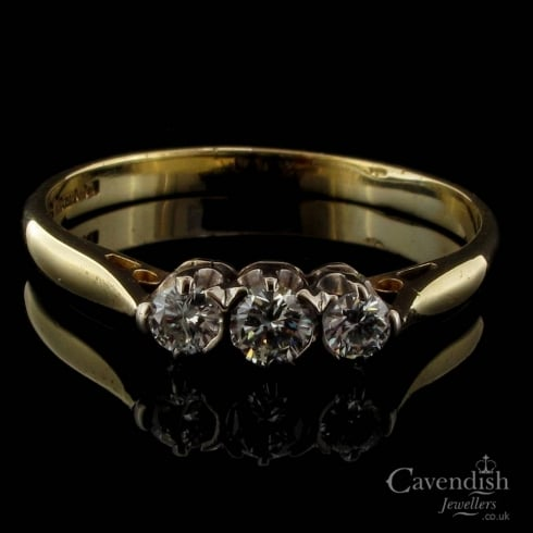 Vintage 18ct Yellow Gold Diamond Trilogy Ring