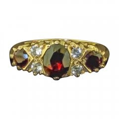Vintage 9ct Garnet And Cubic Zirconia Ring