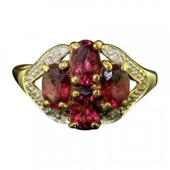 Vintage 9ct Gold Almondine Garnet and Diamond Cluster Ring