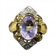 Vintage 9ct Gold Amethyst and White Sapphire Ring
