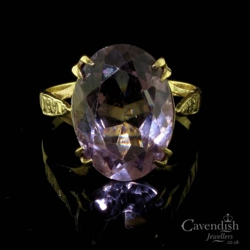 Vintage 9ct Gold Amethyst Solitaire Ring