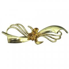 Vintage 9ct Gold and Citrine Bow Brooch