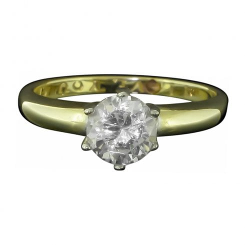 Vintage 9ct Gold And Cubic Zirconia Solitaire Ring