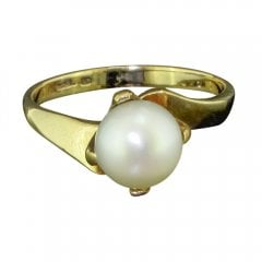 Vintage 9ct Gold And Cultured Pearl Twist Ring