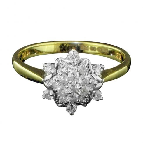 Vintage 9ct Gold And Diamond Cluster Ring