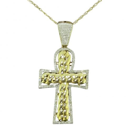 Vintage 9ct Gold And Diamond Cross Pendant