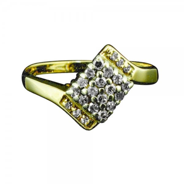 Vintage 9ct Gold And Diamond Square Cluster Twist Ring