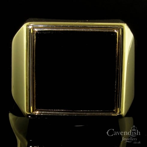 Vintage 9ct Gold Black Onyx Square Signet Ring