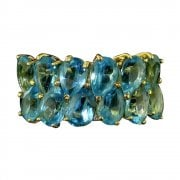 Vintage 9ct Gold Blue Topaz Two Row Ring