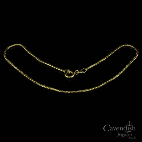 Vintage 9ct Gold Box Link Chain Anklet
